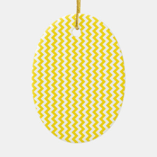 Zigzag Wide  - White and Golden Yellow Double-Sided Oval Ceramic Christmas Ornament