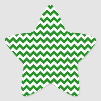 Zigzag Wide  - White and Green Star Sticker
