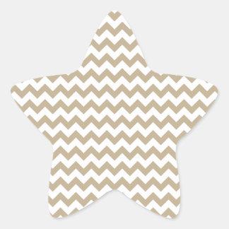 Zigzag Wide  - White and Khaki Star Sticker