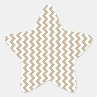 Zigzag Wide  - White and Khaki Star Stickers