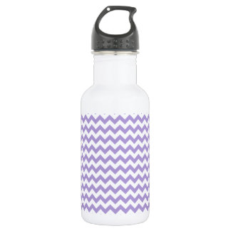 Zigzag Wide  - White and Light Pastel Purple Water Bottle