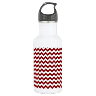 Zigzag Wide  - White and Maroon 18oz Water Bottle