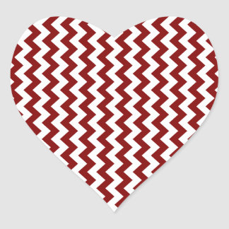 Zigzag Wide  - White and Maroon Heart Sticker