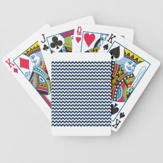 Zigzag Wide  - White and Oxford Blue Poker Cards