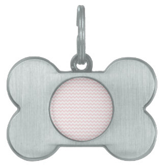 Zigzag Wide  - White and Pale Pink Pet ID Tag