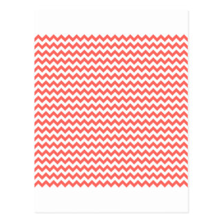 Zigzag Wide  - White and Pastel Red Postcard