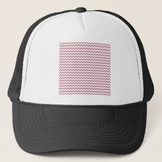 Zigzag Wide  - White and Puce Trucker Hat