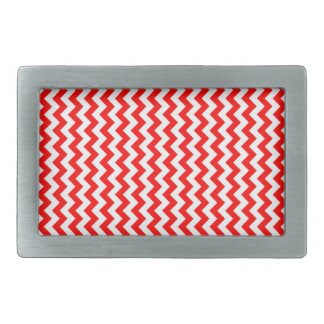 Zigzag Wide  - White and Red Rectangular Belt Buckles