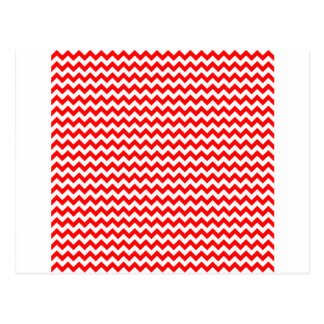 Zigzag Wide  - White and Red Postcard