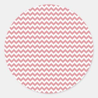 Zigzag Wide  - White and Ruddy Pink Classic Round Sticker