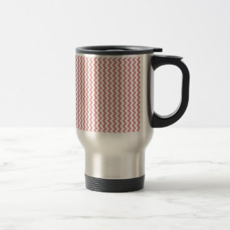 Zigzag Wide  - White and Ruddy Pink 15 Oz Stainless Steel Travel Mug