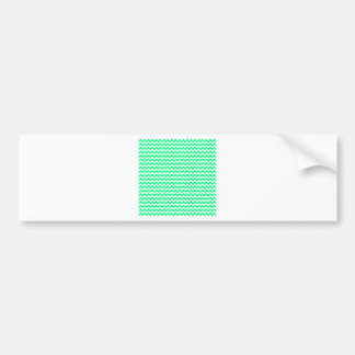 Zigzag Wide  - White and Spring Green Bumper Stickers