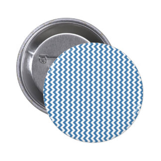 Zigzag Wide  - White and Steel Blue Pinback Buttons