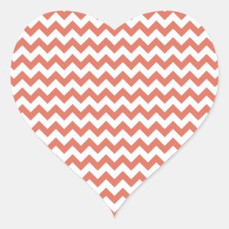 Zigzag Wide  - White and Terra Cotta Heart Sticker