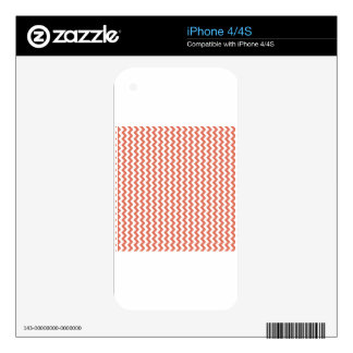 Zigzag Wide  - White and Terra Cotta Skins For iPhone 4