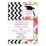 Zigzag y invitación floral 2013 de la graduación invitación 12,7 x 17,8 cm
