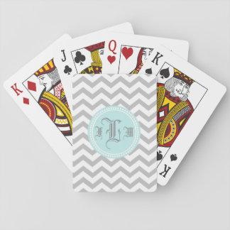 Zigzag y monograma azul cartas de juego