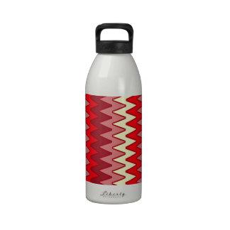 Zigzags, amarillo rosado rojo botella de beber