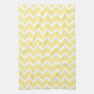 Zigzags amarillos claros y blancos toallas de mano