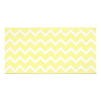 Zigzags amarillos claros y blancos tarjetas personales