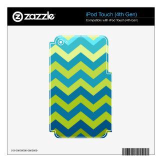Zigzags amarillos y azules de Ombre Calcomanías Para iPod Touch 4G