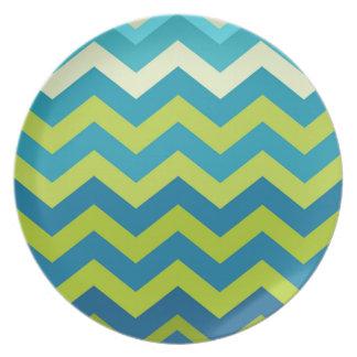 Zigzags amarillos y azules de Ombre Plato Para Fiesta