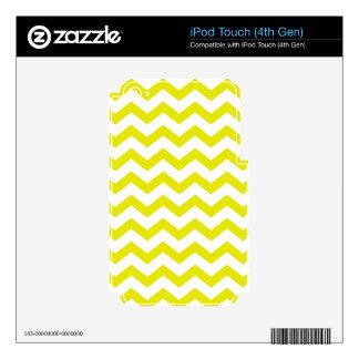 Zigzags amarillos y blancos calcomanía para iPod touch 4G