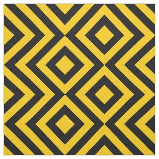 Zigzags amarillos y negros geométricos y diamantes telas