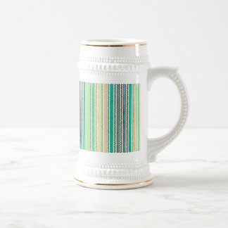 Zigzags And Stripes Of Blue And Green Shades Beer Stein