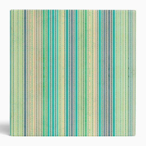 Zigzags And Stripes Of Blue And Green Shades Vinyl Binders