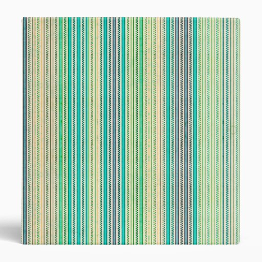 Zigzags And Stripes Of Blue And Green Shades Vinyl Binder