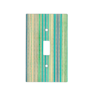 Zigzags And Stripes Of Blue And Green Shades Light Switch Cover