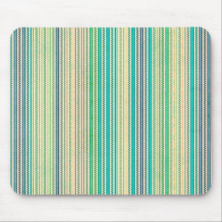 Zigzags And Stripes Of Blue And Green Shades Mouse Pad