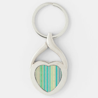 Zigzags And Stripes Of Blue And Green Shades Silver-Colored Heart-Shaped Metal Keychain