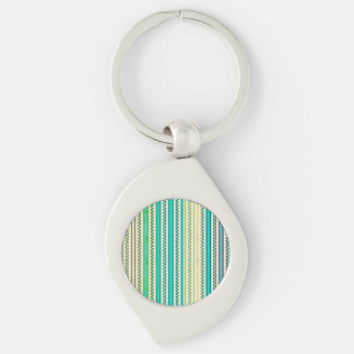 Zigzags And Stripes Of Blue And Green Shades Silver-Colored Swirl Metal Keychain