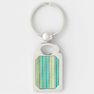 Zigzags And Stripes Of Blue And Green Shades Silver-Colored Rectangular Metal Keychain