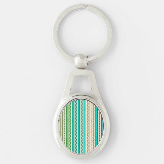 Zigzags And Stripes Of Blue And Green Shades Silver-Colored Oval Metal Keychain