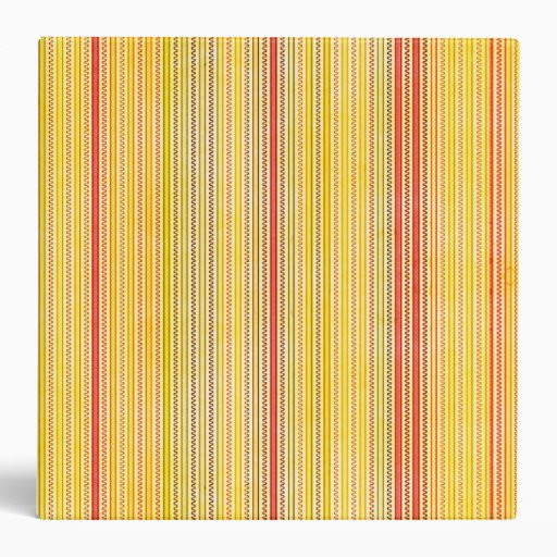 Zigzags And Stripes Orange And Yellow Shades 3 Ring Binder