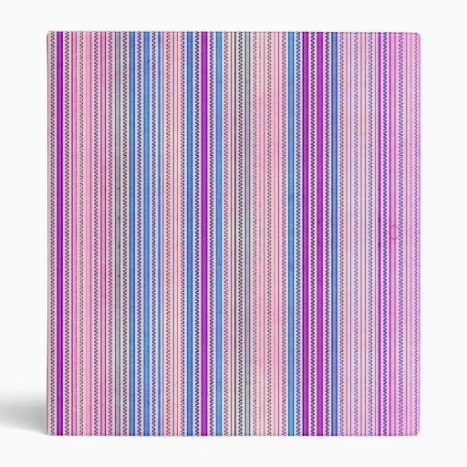 Zigzags And Stripes Purple And Blue Shades Vinyl Binders
