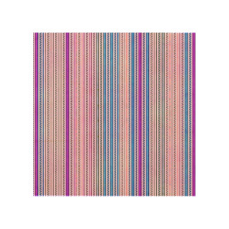 Zigzags And Stripes Purple And Blue Shades Wood Wall Art