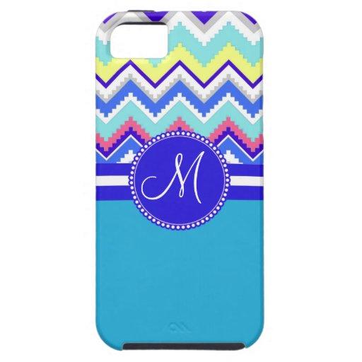 Zigzags aztecas azules de los Andes Chevron del iPhone 5 Carcasa