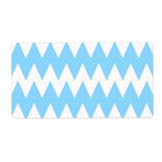Zigzags azules blancos y en colores pastel etiqueta de envío