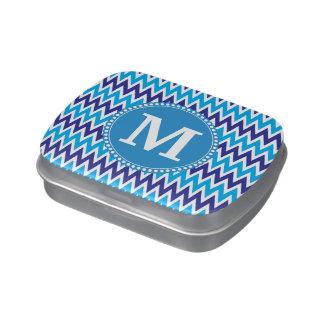 Zigzags azules personalizados de Chevron del trull Jarrones De Dulces