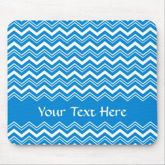 Zigzags azules y blancos coloridos mousepad