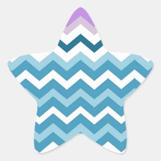 Zigzags azules y blancos de Chevron confinado Pegatina En Forma De Estrella