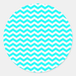 Zigzags blancos pegatina redonda