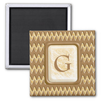 Zigzags - Chocolate Marshmallow 2 Inch Square Magnet