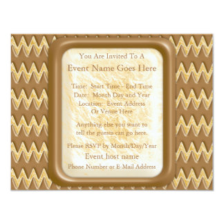 Zigzags - Chocolate Marshmallow Personalized Invite