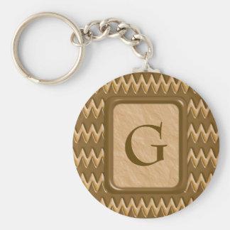 Zigzags - Chocolate Peanut Butter Basic Round Button Keychain
