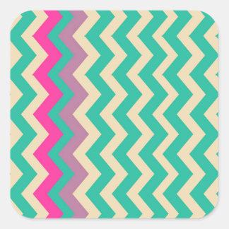 Zigzags confinados mezclados coloridos pegatina cuadrada